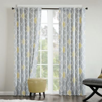INK+IVY Nile 63-Inch Rod Pocket/Back Tab Window Curtain Panel in Grey/Yellow