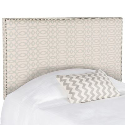 Safavieh Sydney Silver Nail Button Full Headboard in Wheat/Pale Blue