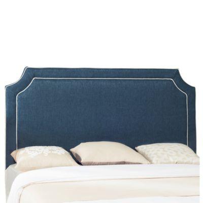 Safavieh Dane Piping Full Headboard in Denim Blue/White