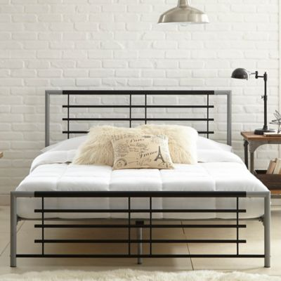 E-Rest Whitney Metal Twin Platform Bed in Black/Silver