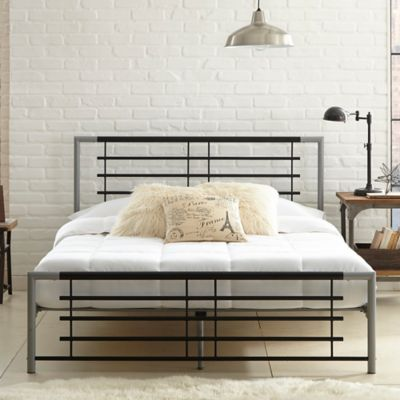 E-Rest Whitney Metal Queen Platform Bed in Black/Silver