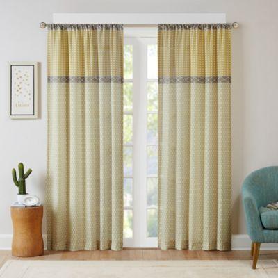Intelligent Design Charlie 63-Inch Rod Pocket Window Curtain Panel in Yellow