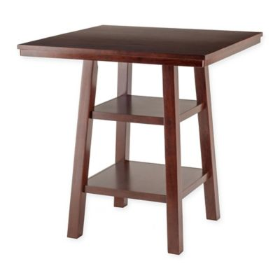 The Winsome Trading Orlando 2-Shelf High Pub Table in Walnut