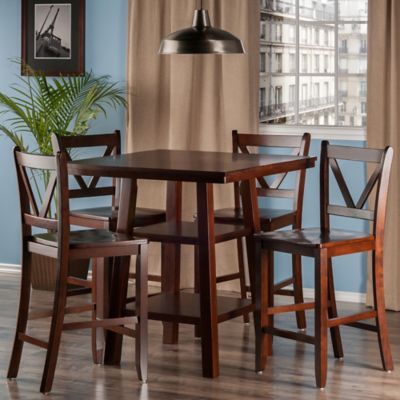 The Winsome Trading Orlando 5-Piece High Table and V-Back Counter Stool Pub Set in Walnut