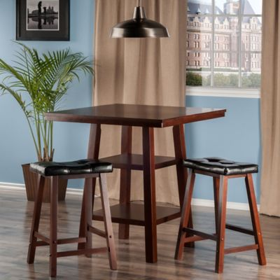 The Winsome Trading Orlando 3-Piece High Table and Cushion Saddle Seat Stool Pub Set in Walnut