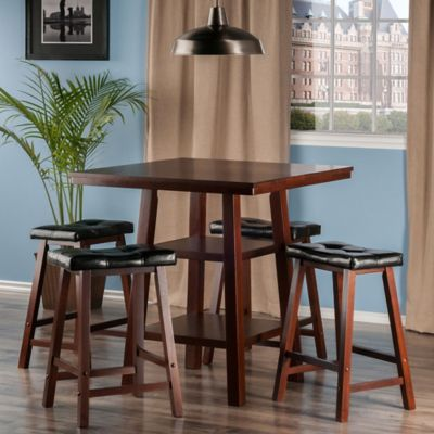 The Winsome Trading Orlando 5-Piece High Table and Cushion Saddle Seat Stool Pub Set in Walnut