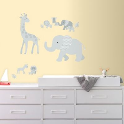 Baby Safari Animals Peel and Stick Giant Wall Decals