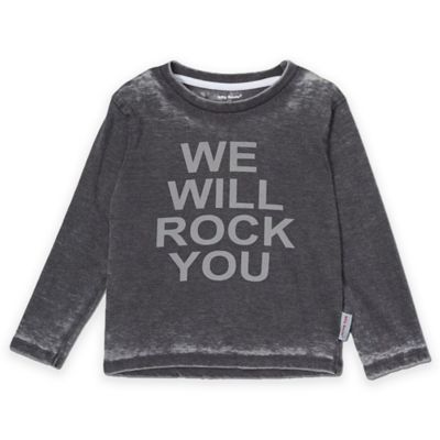 "Silly Souls® Size 0-3M ""We Will Rock You"" Long Sleeve T-Shirt in Black/Grey"