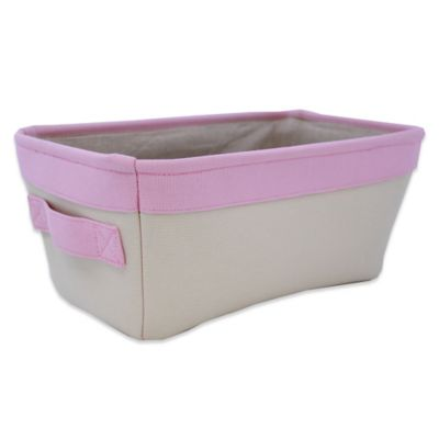 Closet Complete Natural Canvas Small Diaper Caddy in Pink