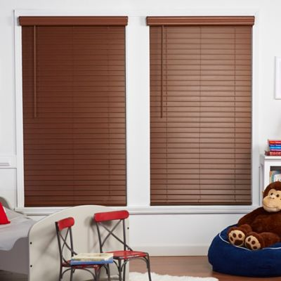 Baby Blinds Cordless Faux Wood 59-Inch x 48-Inch Shade in Warm Brown