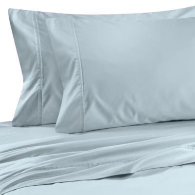 Wamsutta® Wrinkle-Free Pima Sateen Open Stock Queen Flat Sheet in Blue