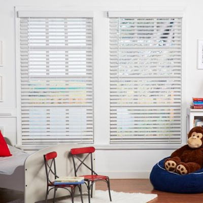Baby Blinds Cordless Faux Wood 59-1/2-Inch x 64-Inch Blinds in Classic White