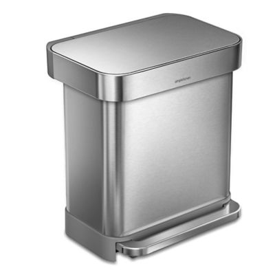 simplehuman® 30-Liter Rectangular Step Can with Liner Pocket in Brushed Stainless Steel