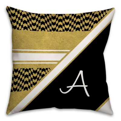 Chevron Checkerboard Square Throw Pillow in Black/Gold - Bed Bath & Beyond