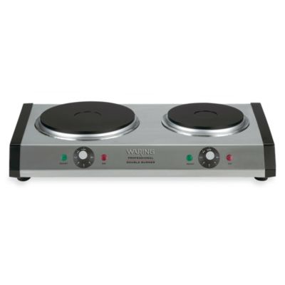 Waring Pro® Brushed Stainless Steel Electric Burner with Double Ports