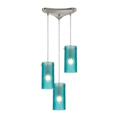 Elk Lighting Synthesis 10-Inch 3-Light Pendant in Satin Nickel with Aqua Glass Shade