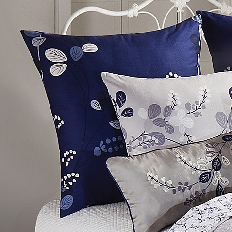 geneva european pillow sham in grey navy bed bath beyond. Black Bedroom Furniture Sets. Home Design Ideas