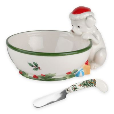 Spode® Christmas Tree Puppy Dip Bowl with Spreader