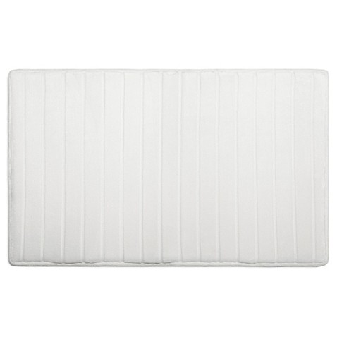 "Micro Plush 17"" x 24"" Memory Foam Bath Mat in White"