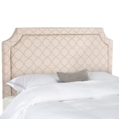 Safavieh Shayne Silver Nail Button Full Headboard in Pale Pink/Beige