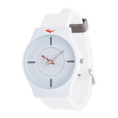 Everlast® Soft Touch Unisex 39mm Round Analog Watch in White Alloy with White Rubber Strap