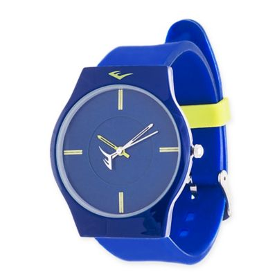 Everlast® Soft Touch Unisex 39mm Round Analog Watch in Blue Alloy with Blue Rubber Strap