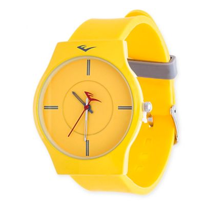 Everlast® Soft Touch Unisex 39mm Round Analog Watch in Yellow Alloy with Yellow Rubber Strap