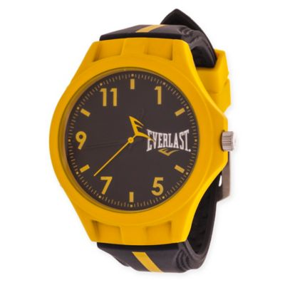 Everlast® Unisex 39mm Round Sport Watch in Yellow Rubber with Black Rubber Strap