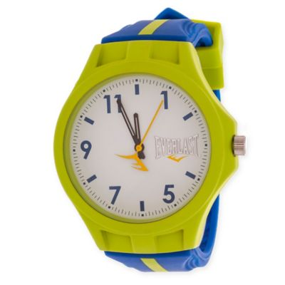 Everlast® Unisex 39mm Round Sport Watch in Green Rubber with Blue Rubber Strap