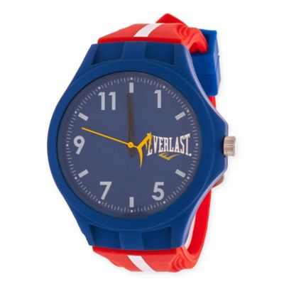 Everlast® Unisex 39mm Round Sport Watch in Blue Rubber with Red Rubber Strap