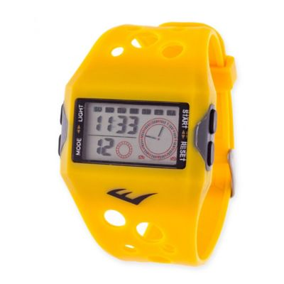Everlast® Unisex 44mm Square Digital Sport Watch in Yellow Rubber