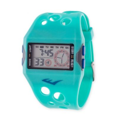 Everlast® Unisex 44mm Square Digital Sport Watch in Turquoise Rubber