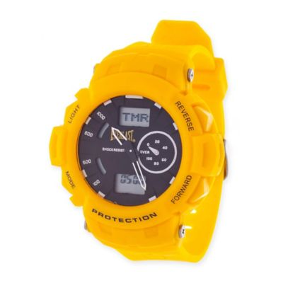 Everlast® Unisex 44mm Round Multi-Function Sport Watch in Yellow Rubber