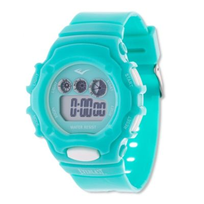 Everlast® Unisex 37mm Multi-Function White Button Digital Watch with Aqua Rubber Strap