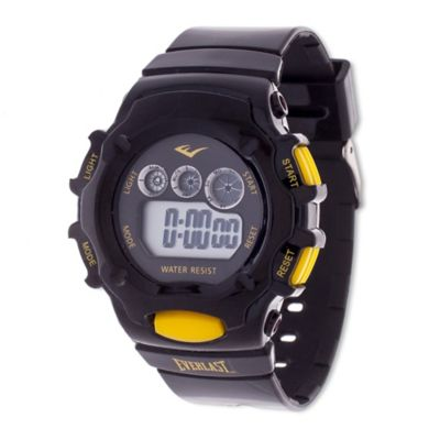 Everlast® Unisex 37mm Multi-Function Yellow Button Digital Watch with Black Rubber Strap