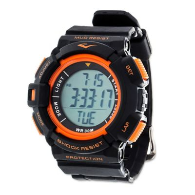 Everlast® Unisex 47mm HR4 Heart Rate Monitor Watch with Black Rubber Strap
