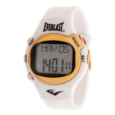 Everlast® Unisex 38mm HR5 Heart Rate Monitor Watch with White Rubber Strap