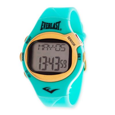 Everlast® Unisex 38mm HR5 Heart Rate Monitor Watch with Turquoise Rubber Strap