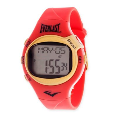 Everlast® Unisex 38mm HR5 Heart Rate Monitor Watch with Red Rubber Strap