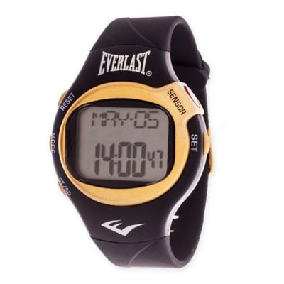 Everlast® Unisex 38mm HR5 Heart Rate Monitor Watch with Black Rubber Strap