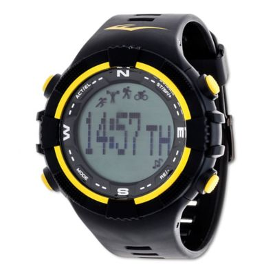 Everlast® Unisex 40mm PD2 Yellow Accent Activity Tracker Watch in w/Black Rubber Strap