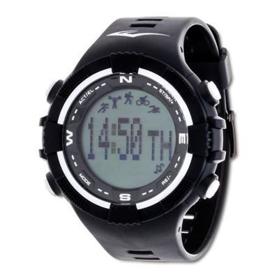 Everlast® Unisex 40mm PD2 White Accent Activity Tracker Watch in w/Black Rubber Strap