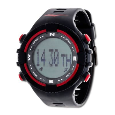 Everlast® Unisex 40mm PD2 Red Accent Activity Tracker Watch in w/Black Rubber Strap