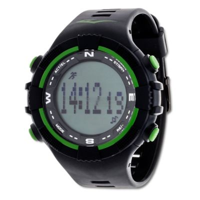 Everlast® Unisex 40mm PD2 Green Accent Activity Tracker Watch in w/Black Rubber Strap