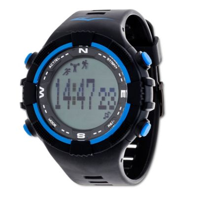 Everlast® Unisex 40mm PD2 Blue Accent Activity Tracker Watch in w/Black Rubber Strap