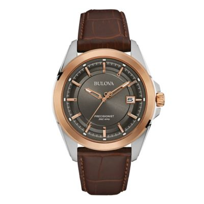 Bulova Precisionist Men's 43mm UHF Gunmetal Watch in Rose Two-Tone Stainless Steel w/Leather Strap