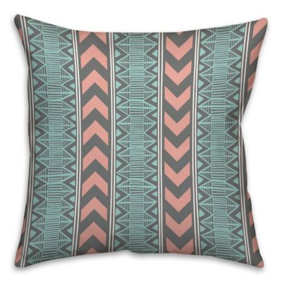 Chevron and Boho Tribal Square Throw Pillow in Blue/Pink
