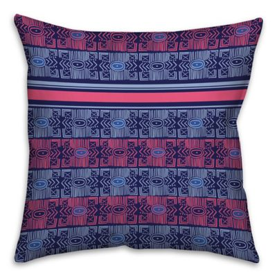 Abstract Tribal Square Pillow in Blue/Pink