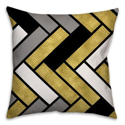 Stacked Rectangles Square Throw Pillow in Cream/Multi