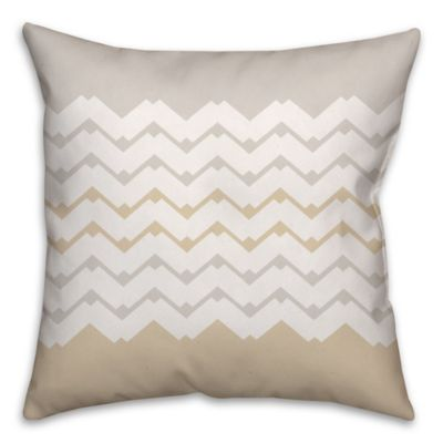 Jagged Chevron Square Throw Pillow in Cream/White